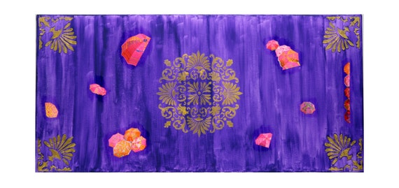 "India inspired Mixed Media Original entitled ""Royal Colors.""  15 in by 30 in with intricate Gold designs & hot pink accents on purple."
