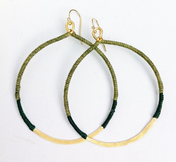 Hammered Brass Hoops in Olive & Emerald