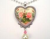 "Heart Love Pink Roses ""Vintage Charm"" Art Glass Pendant Necklace"