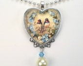 "Blue Forget Me Not Heart Love Bird ""Vintage Charm"" Art Glass Pendant Necklace"