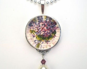 Purple Violets Floral Necklace Filigree Pendant Vintage Charm Graphic Art Silver or Bronze Jewelry by Charmedware