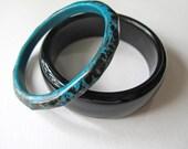 vintage bangle bracelets black and teal