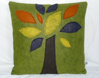Decorative Pillow Tree Pillow Green Pillow Felt Pillow