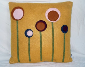 Decorative Pillow Yellow Pillow Felt Pillow Flower Pillow
