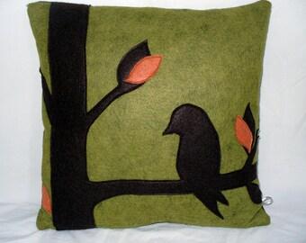 Green Wool Felt Pillow, Bird Pillow, Tree Pillow, Silhouette Pillow