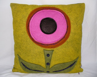 Mustard Yellow Pillow, Decorative Pillow, Throw Pillow, Flower Pillow