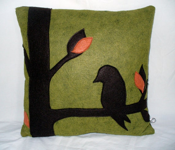 Green Wool Felt Pillow Modern Home Decor Bird Pillow Tree