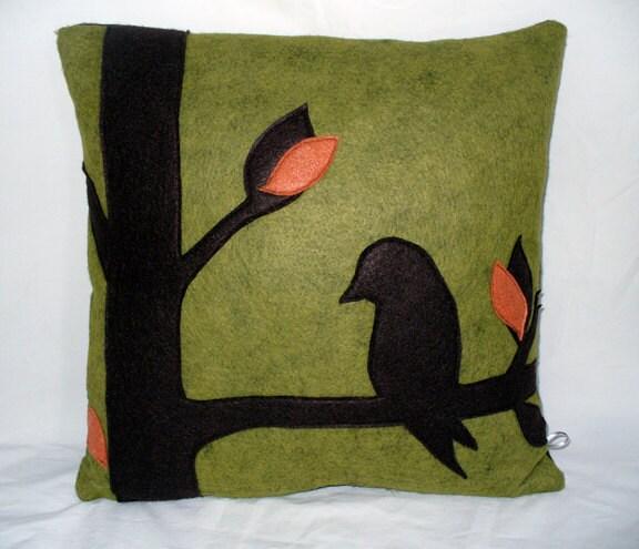 Modern Felt Pillows : Green Wool Felt Pillow Modern Home Decor Bird Pillow Tree