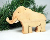 Waldorf Inspired Wood Toy, BABY MAMMOTH: Ice Age Prehistoric Woolly Mammoth Toy for Imaginative Play