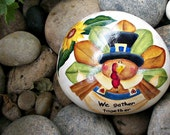 Festive turkey - sign - thanksgiving - sunflower - green leaves - handpainted - tole painted rock
