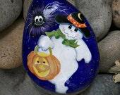 Festive ghost and spider - trick or treat - tole folk art - handpainted rock - original