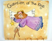 """Guardian Angel  - handpainted key rack with words, phrase - """"Guardian of the Keys"""" wall hanging"""