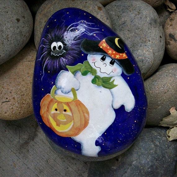 Festive ghost and spider - trick or treat - tole folk art - handpainted rock - original