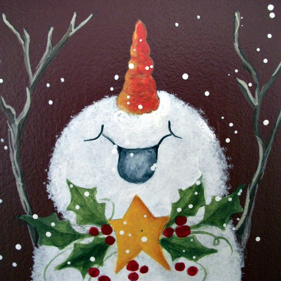 Joyful snowman handpainted christmas art wall hanging for Easy christmas paintings on canvas