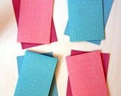 Embossed Birthday Card Pink and Blue Glossy- Set of 4