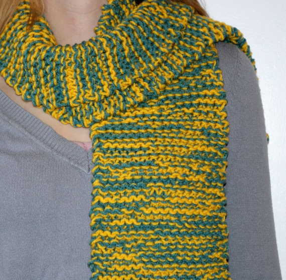 Yellow and Green Hand-Knit Scarf