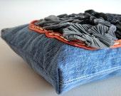 Clearance -- Recycled Denim Fabric Zipper Clutch