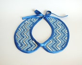 Blue Chevron Peter Pan Collar Necklace, Embroidered with Silver Glass Beads, FREE SHIPPING WORLDWIDE
