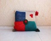 "Handknit patchwork decorative pillow cover with pom poms, appr.18""x18"", 47x47 cm"