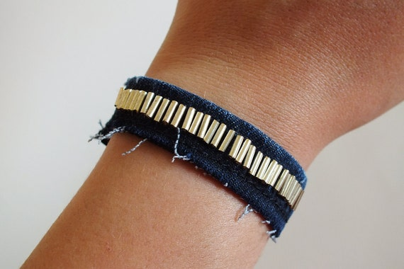 Silver Glass Beads Cuff Bracelet, Recycled Denim Jeans, Touch and Close Fastener