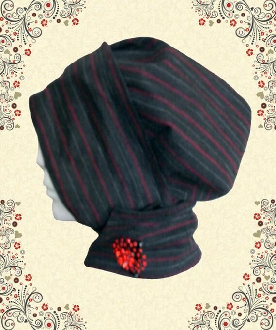 Gray with Red Pinstripe Wrap Around Hijab Hat No. 2