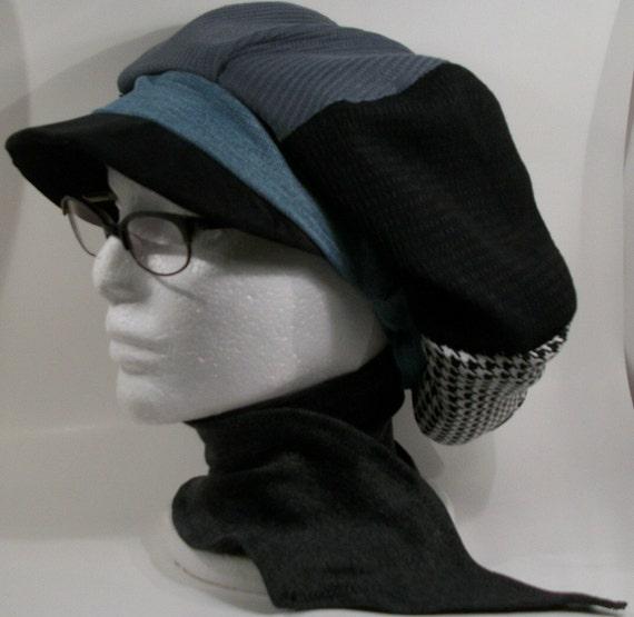 Black, Grey, Houndstooth, Denim Patchwork with Grey Neck Scarf Pageboy Tam Hijab Hat