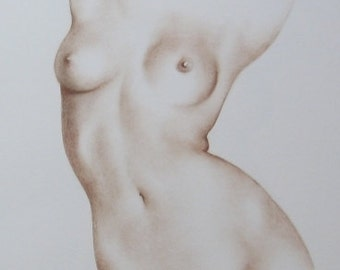 Female Nude Art, Order Female Nude, Handmade Nude, Erotic Drawing, Classical Nude Art, 12 x 16, Female Torso Sketch, Made to Order (2/20)