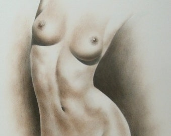 Female Nude, Nude Drawing, Sepia Nude, Pencil Nude, Woman Nude, Female Body Art, Nude Female Sketch, Nudes, Classical Sketch, MADE TO ORDER