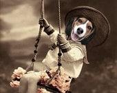 Parker - Vintage Dog 5x7 Print - Anthropomorphic - Altered Photo - Beagle Photo - Collage Art - Funny Animal - Animal Print -  Gift Idea