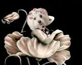 Poppy Goddess - Vintage Dog 5x7 Print - Altered Photograph - Anthropomorphic - Collage Art - Whimsical Art - Unusual Gift Idea