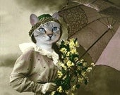 Paris - Vintage Cat 5x7 Print - Anthropomorphic - Altered Photo - Photo Collage Art - Whimsical Art - Yellow and Tan - Gift Idea