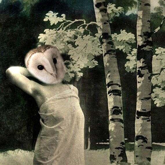 Woodland Goddess - Vintage Owl 5x7 Print - Anthropomorphic - Owl Art - Altered Photo - Whimsical - Unique Gift Idea