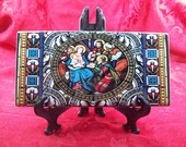 Stained Glass Nativity Scene on 3x6 inch Ceramic Rectangle Tile