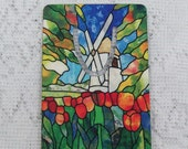Windmill with Flowers Aluminum Bookmark 2x3 inches