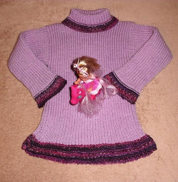 Sweater knit PATTERN .PDF-Dress turtleneck soft fine Virgin