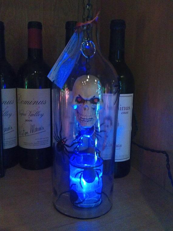 Halloween Skull and Spider Hanging Bottle Light
