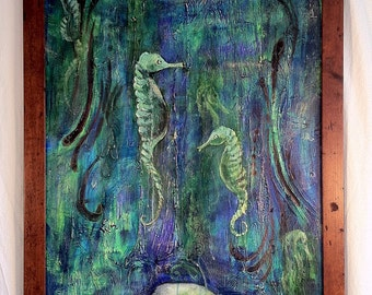 Large dreamy aquatic painting with seahorses 4 feet X 2 feet