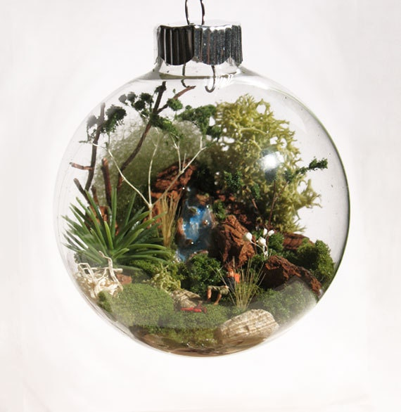 Resting Hiker Scene Glass Ornament