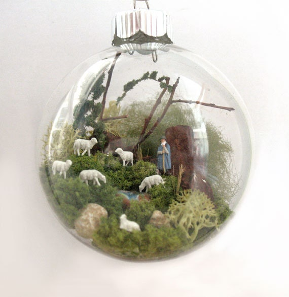 RESERVED FOR NICKY!!!A Shepherd with Sheep Scene Glass Ornament