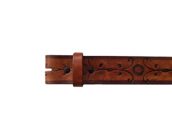 """Hand Painted Brown Floral Vector 1.5"""" Wide Leather Belt - Available up to Size 40"""