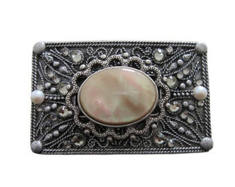 """Antique Silver Rectangle Two Square Design Ornament Belt Buckle - Available in Various Crystals and Ornaments - Fits All 1.5"""" Wide Belts"""