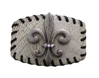 "Distressed White Leather Fleur-de-lis Belt Buckle - Fits All 1.5"" Wide Belts"
