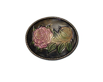 """Hand-Painted Pink Rose Oval Belt Buckle - Available in Silver and Gold - Fits All 1.5"""" Wide Belts"""