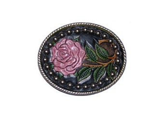 """Hand-Painted Pink Rose Studded Oval Belt Buckle - Available in Silver and Gold - Fits All 1.5"""" Wide Belts"""