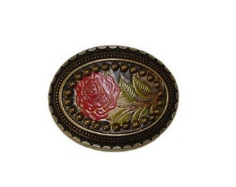 """Hand-Painted Red Rose Studded Intricate Oval Belt Buckle - Fits All 1.5"""" Wide Belts"""