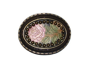 """Hand-Painted Pink Rose Studded Intricate Oval Belt Buckle - Fits All 1.5"""" Wide Belts"""