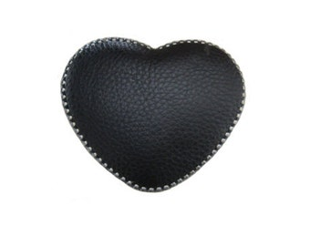 """Heart Leather Belt Buckle - Available in Black and Red - Fits All 1.5"""" Wide Belts"""