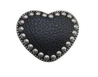 "Black Heart Leather Studded Belt Buckle - Fits All 1.5"" Wide Belts"