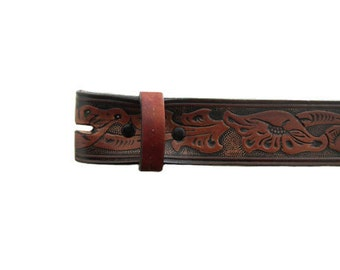 """Black Red Floral Embossed 1.5"""" Wide Leather Belt - Available up to Size 40"""
