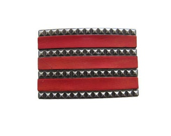 """Leather Stripes Belt Buckle - Available in Black Vintage Brown Distressed White and Red - Fits All 1.5"""" Wide Belts"""
